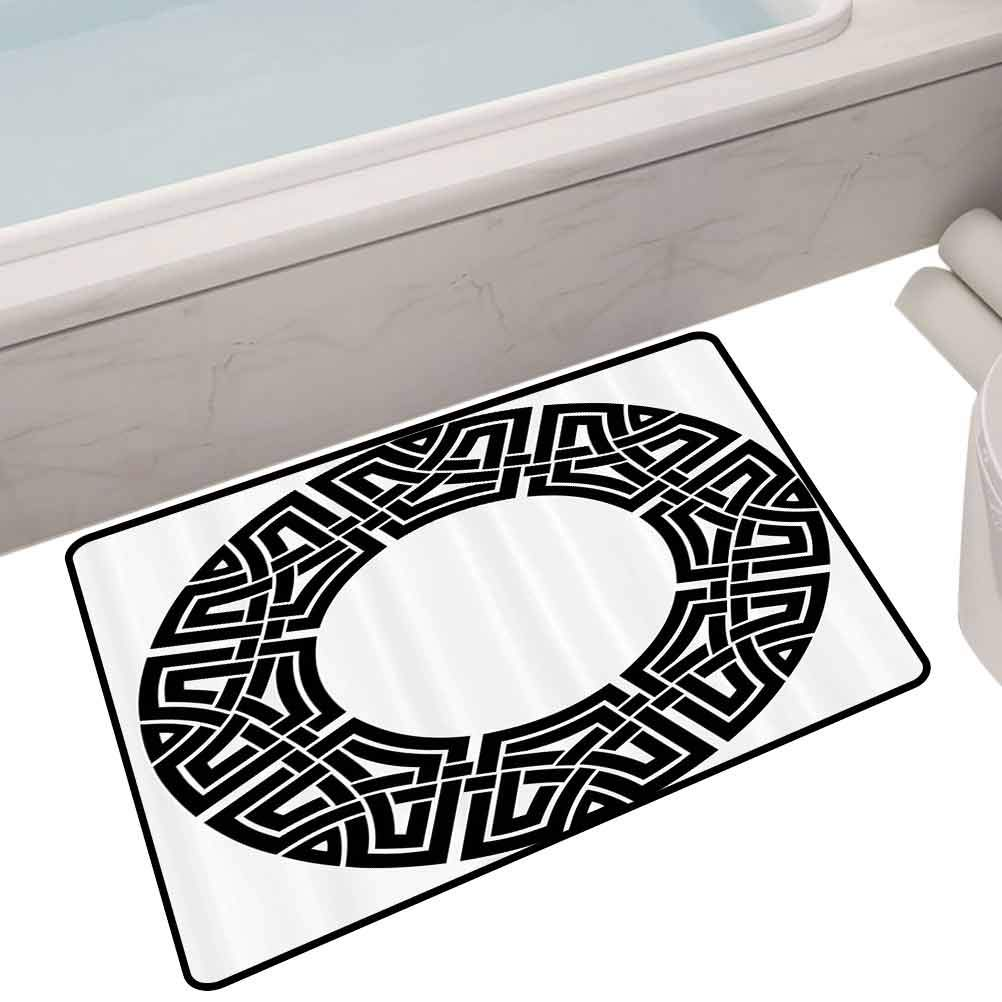 Polyester Rubber Door Mats Ornamental Round Celtic Frame with Folkloric Tied Knot Pattern Vintage Decorative Design,35