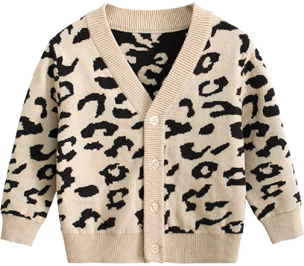 Toddler Kid Leopard Print Clothes Outfit Baby Girl Boy Long Sleeve Sweatshirts Pullover Cotton Shirt Top Clothing