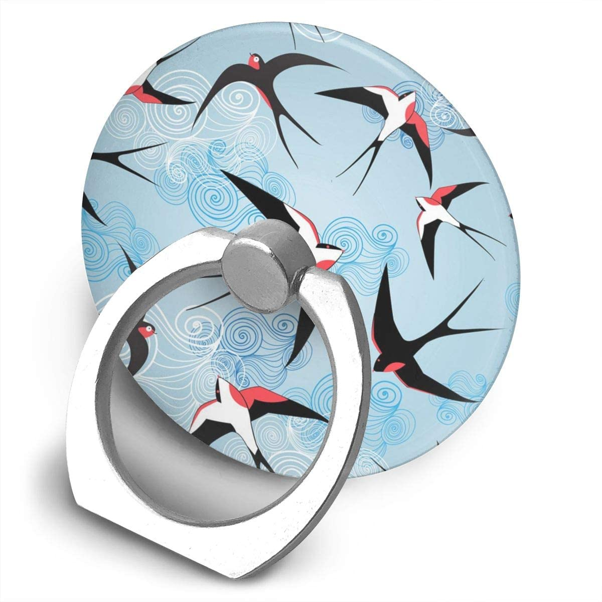 Universal Phone Ring Holder Fantastic Swallows Birds Adjustable 360°Rotation Round Finger Grip Loop Cell Phone Stand for Phone X/6/6s/7/8/8/10/11 Plus Smartphone Android