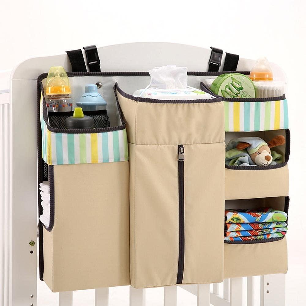 OOFYHOME Storage Bag Baby Nursery Organiser Cotton Hanging Storage Bag for Bedside Crib Cot Changing Table, c03b Light Khaki