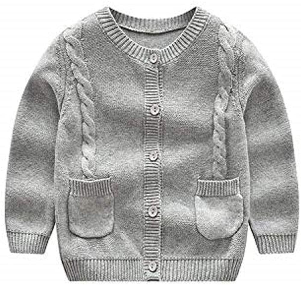 KiKibaby Toddler Baby Girls/Boys Long Sleeve Knit Button up Cardigan Sweater Spring Autumn