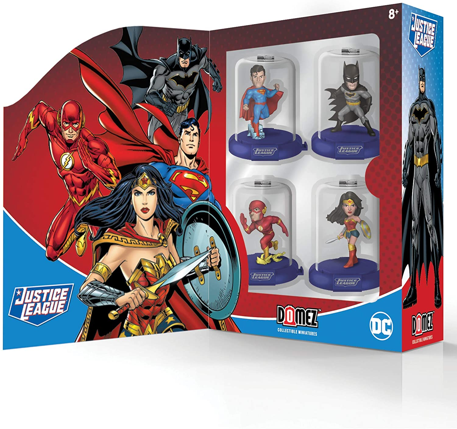 Justice League Domez Series 1 Collector's Box Set - Includes Batman, Superman, Wonder Woman & The Flash - Authentic & Highly Detailed Collectible Characters - Connect, Collect, Display