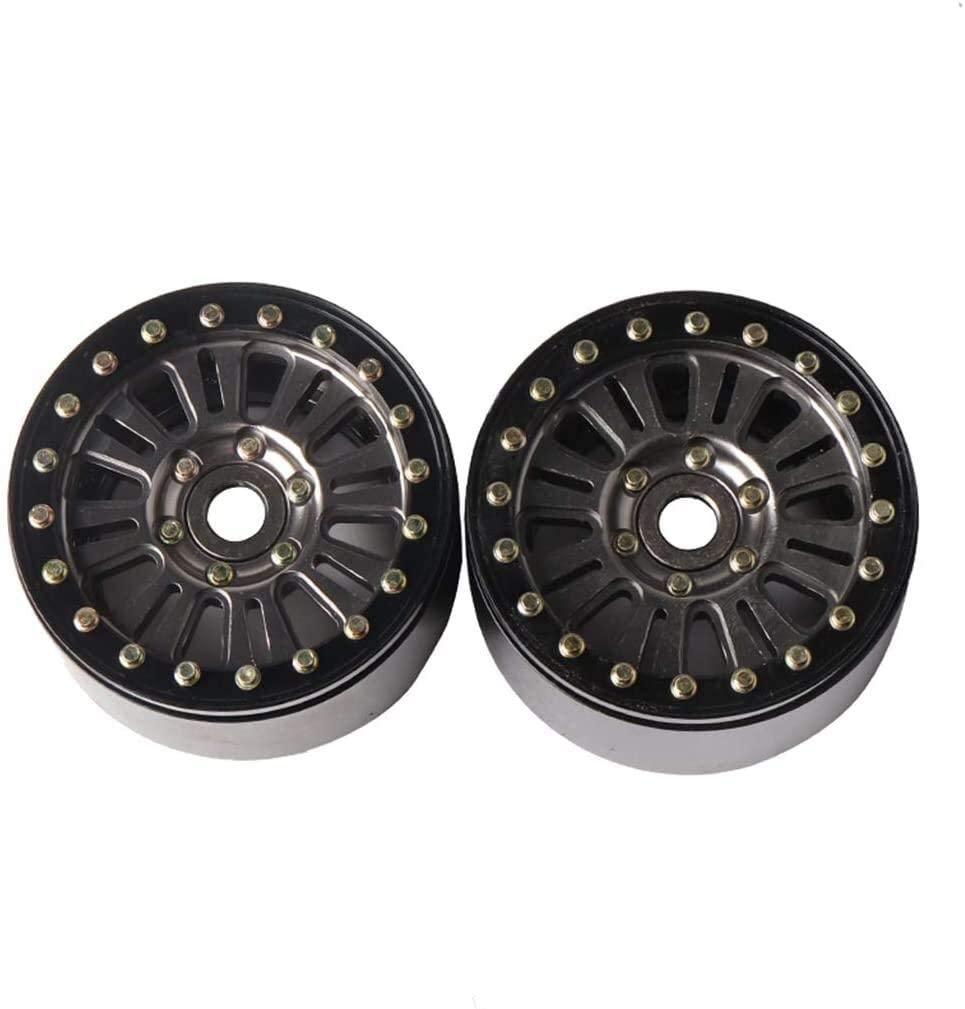 Replacement for 1/10 RC Crawler 2pcs 1.9inch Alum 5 Spoke Scale Beadlock Wheel Hub Vehicle Model