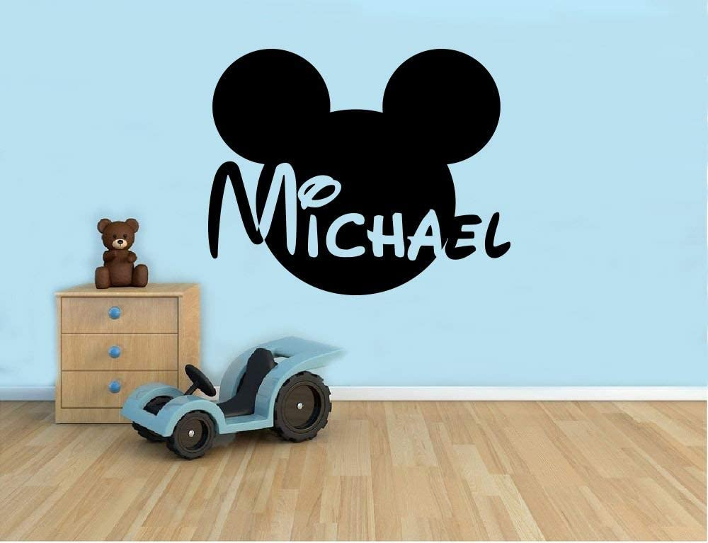 Personalized Name Wall Decal Mickey Mouse Head Vinyl Sticker Custom Name Home Decor Bedroom Nursery Baby Room Wall Art 1(mkm)