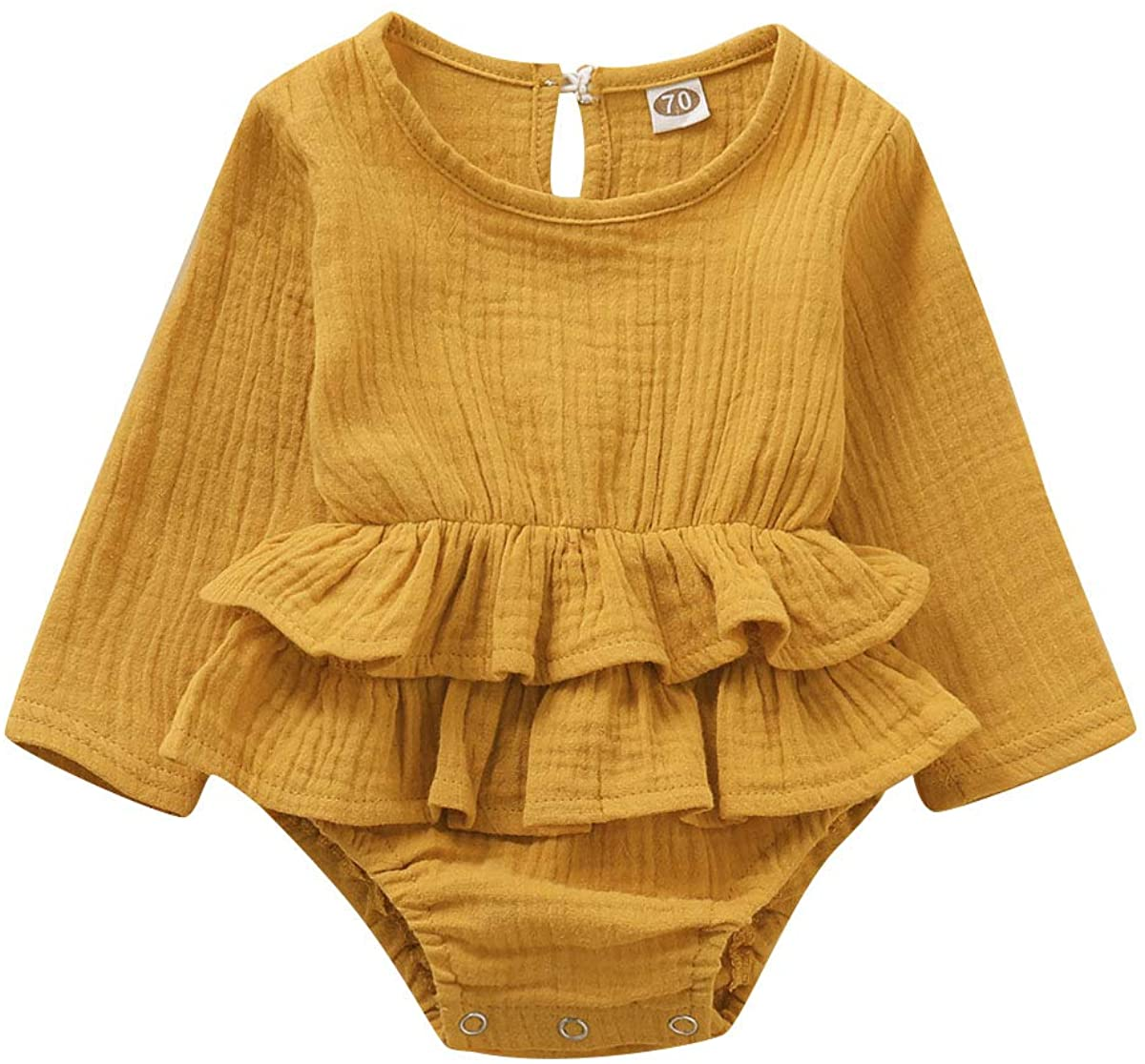 Chloefairy Baby Bodysuit Onesies Infant Newborn Long Sleeve Solid Garment Tops for Girls Boys 0-18M T-35863