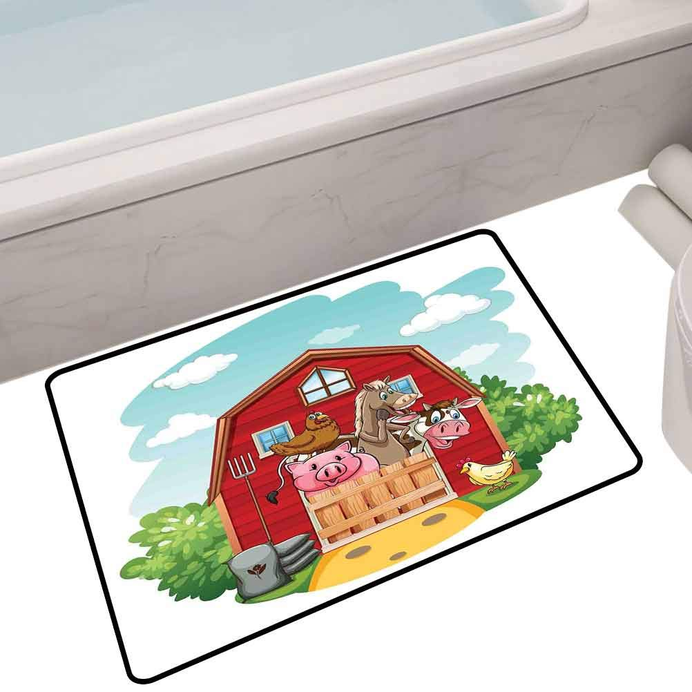 Floor mats for Kids Happy Farm Animals Living in Barnhouse Chicken Pig Horse Domestic Rural Artistic,35