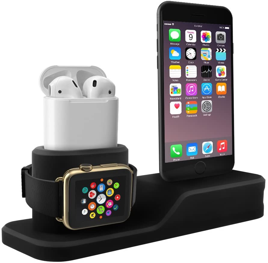 EREACH Charging stand compatible with Apple watch,3 in 1 silicone charging station compatible with  iwatch Series 4/3/2/1 iphone X/8/8plus/7/7plus/6/6plus  and AirPods(Not include Cable/Adpter)