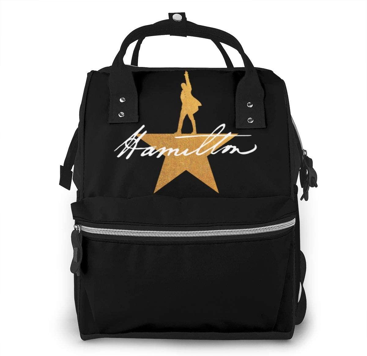10sdaklasd Musicals Hamilton Diaper Backpack Large Capacity Multi-Function Travel Bag