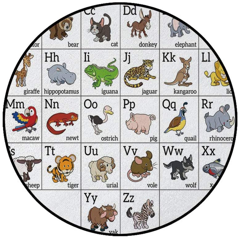 4' Round Area Rugs,Alphabet Learning Chart with Cartoon Animals Names Letters Upper and Lowercase Decorative Super Soft Washable Carpet for Living Room Bedroom Home Children Playroom Nursery, Multicol