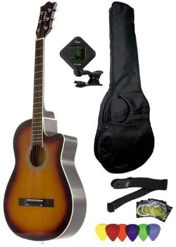 Fever 3/4 Size Acoustic Cutaway Guitar Package Sunburst with Gig Bag Guitar Tuner Picks and Strap FV-030C-SB-PACK