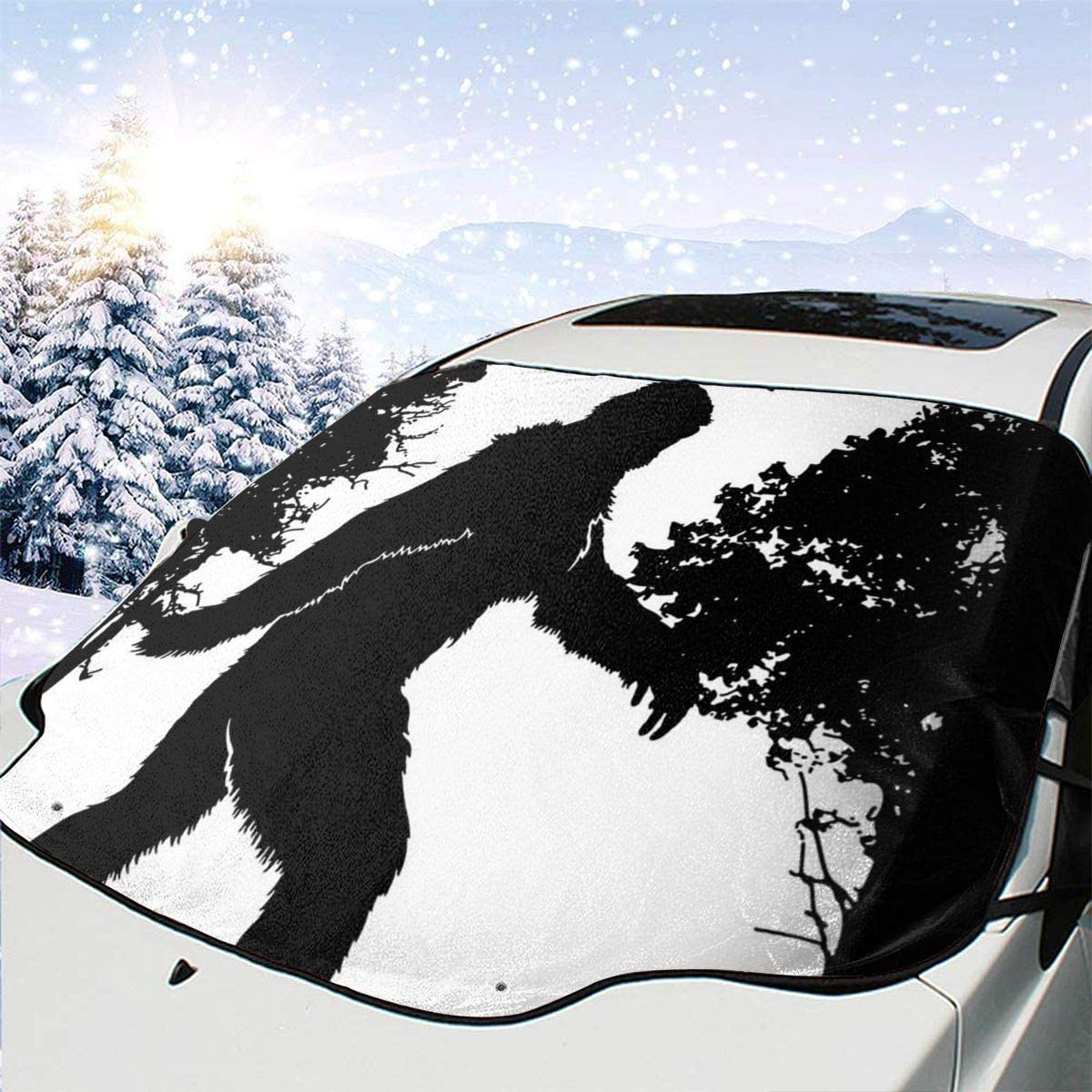 THONFIRE Car Front Window Windshield Snow Sun Shades Forest Gorilla Cover Waterproof Blocks Heat Keeps Your Vehicle Cool Visor Protector Automotive Autumn Heat Reflector