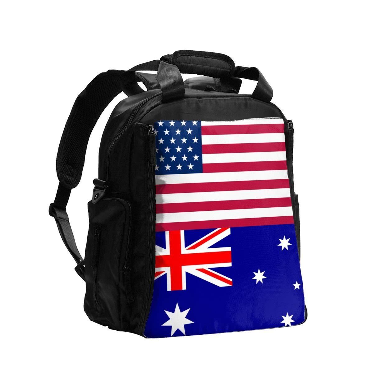 USA Australia Flag Diaper Bag Backpack Travel Backpack Maternity Baby Changing Bags