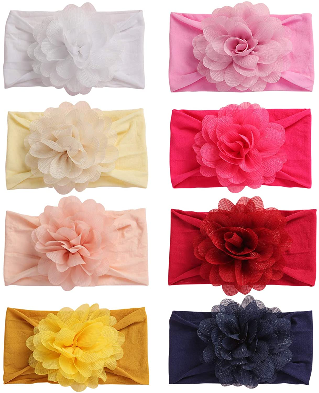 inSowni 8pcs Solid Celtic Knot Stretchy Nylon Turban Headbands Headwraps Hair Bands Accssories for Baby Girls Toddlers Newborns Infants Kids