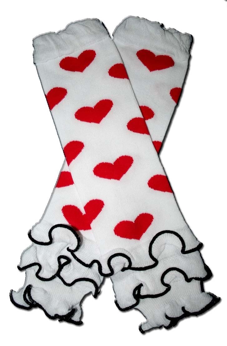 WHITE RUFFLES WITH HOT PINK HEARTS - Baby Leggings/Leggies/Leg Warmers - Little Girls & Boys & ONE SIZE by