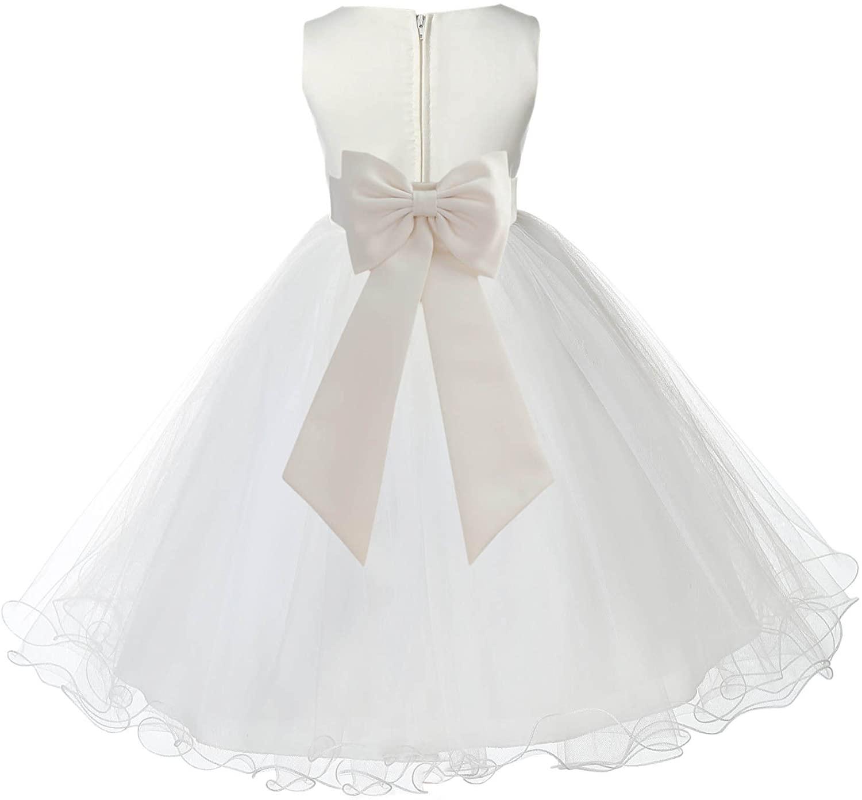 Ivory Tulle Rattail Edge Junior Flower Girl Dresses Christening Dresses 829T
