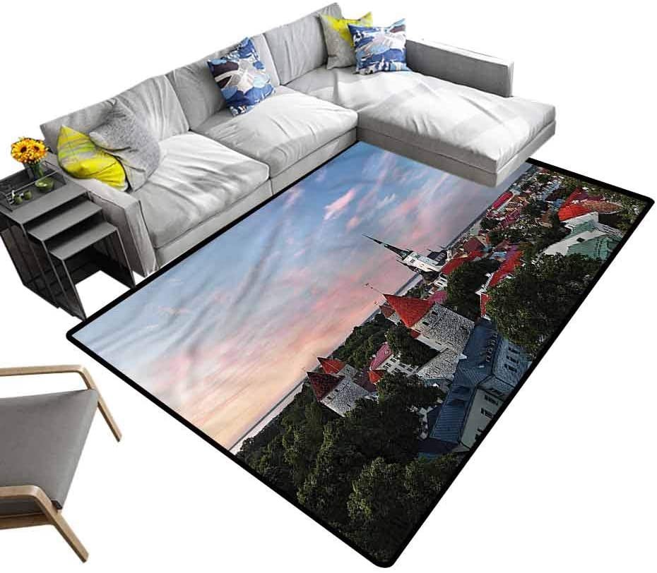 Wanderlust, Nursery Rug Panoramic View Tallin Extra Soft and Comfy Carpet for Baby Nursery Decor, 3'x 5'
