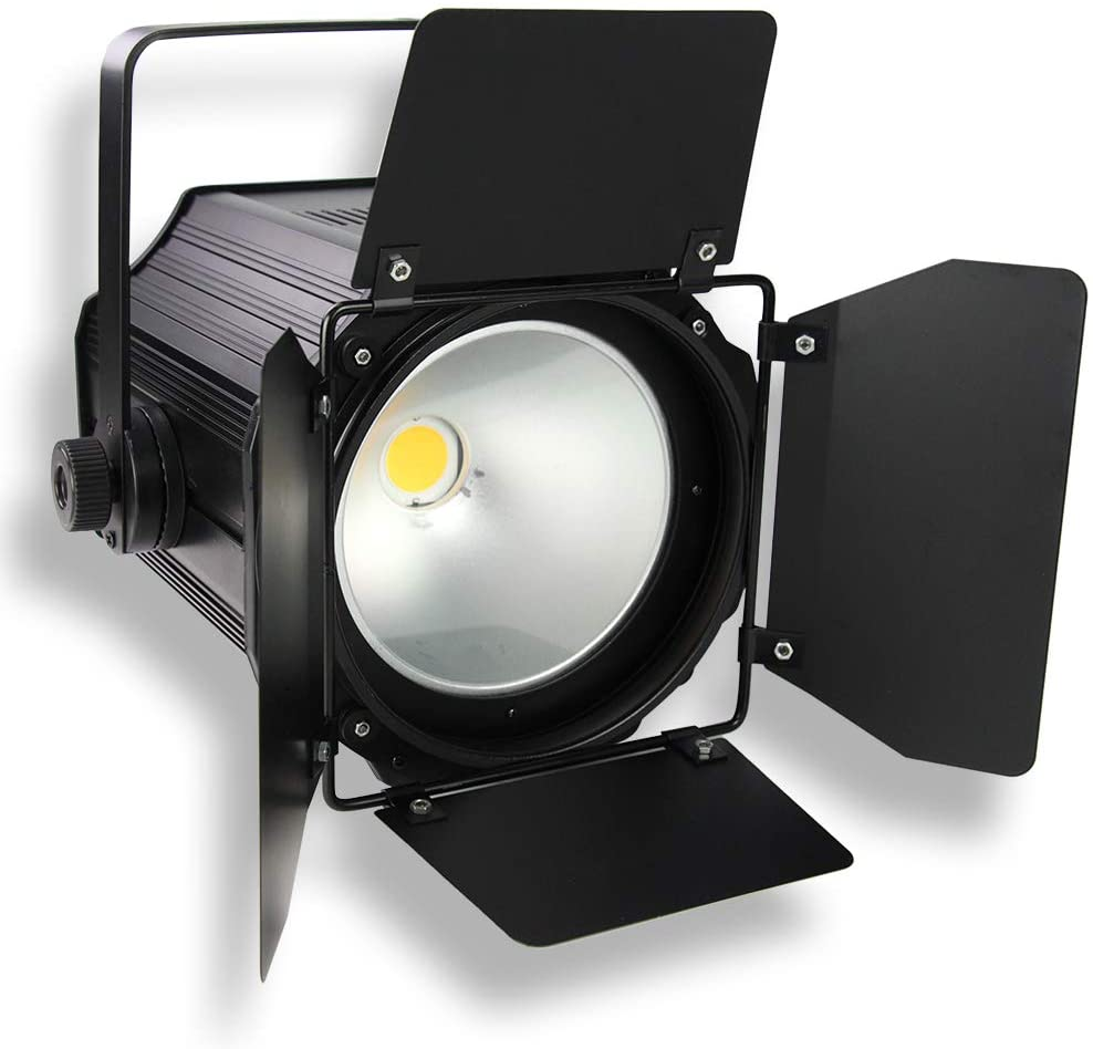 V-Show LED Fresnel Light 200W Stage LED COB Par Light Warm White DMX with Dimmable for Camera Photo Church Theater Studio Lighting