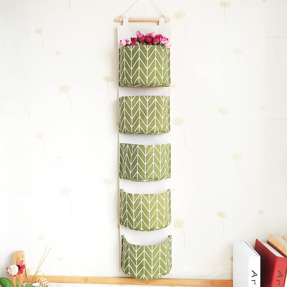 AMYDREAMSTORE Fabric Wall Door Cloth Hanging Storage Bag Magazine Holders for Living Room-E 20x97cm(8x38inch)