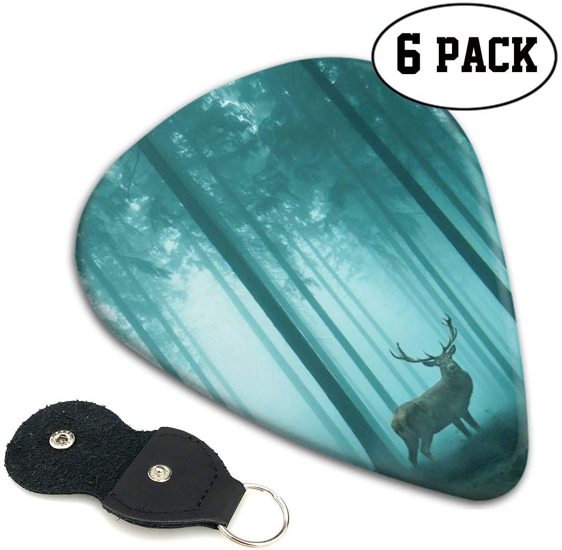 Xzyauza Forest Elk Celluloid Guitar Picks Premium Picks 6 Pack for Guitar,Mandolin,and Bass 0.46mm, 0.71mm, 0.96mm Optional with PU Leather Pick Holder