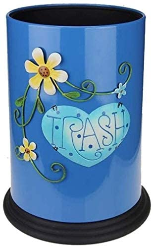 JY&WIN Garbage Trunk Decorative Trash Can Farmhouse Style Multifunction Indoor Uncovered Trash Can Thicken Kids Room Trash Can (Color: Blue Size: 10L)