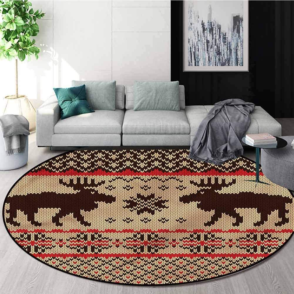 RUGSMAT Cabin Modern Machine Round Bath Mat,Deers and Snowflakes Country Foam Mat Bedroom Decor Bedroom Round-24
