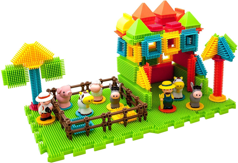 PicassoTiles PTB100 100pcs Bristle Shape 3D Building Blocks Tiles Farm Theme Set Learning Playset STEM Toy Set Educational Kit Child Branin Development Preschool Kindergarten Toy