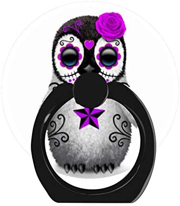 LoveStand-Cell Phone Ring Holder 360 Degree Finger Ring Stand for Smartphone Tablet and Car Mount-Purple Day of The Dead Sugar Skull Penguin White