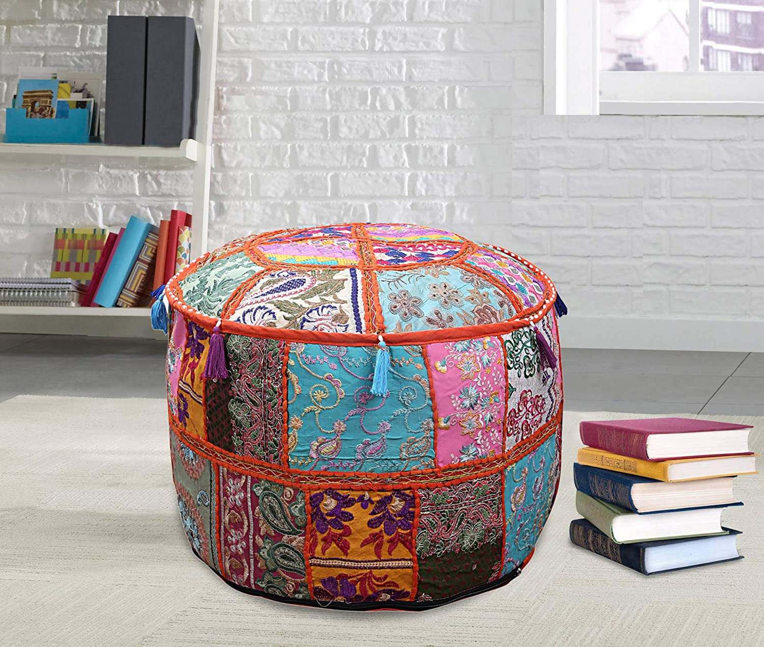 Janki Creation Patchwork Round Ottomans Cover Indian Handmade Footstools Throw Bedroom Decorative Embroidery Patchwork Ottomans Cover Decor