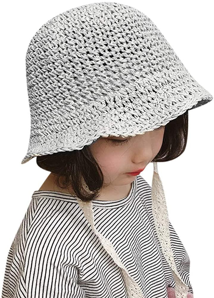 Toddler Kids Straw Floppy Brim Panama Hat Fedora Lace Sun Hat Foldable Wide Brim Beach Sun Hat