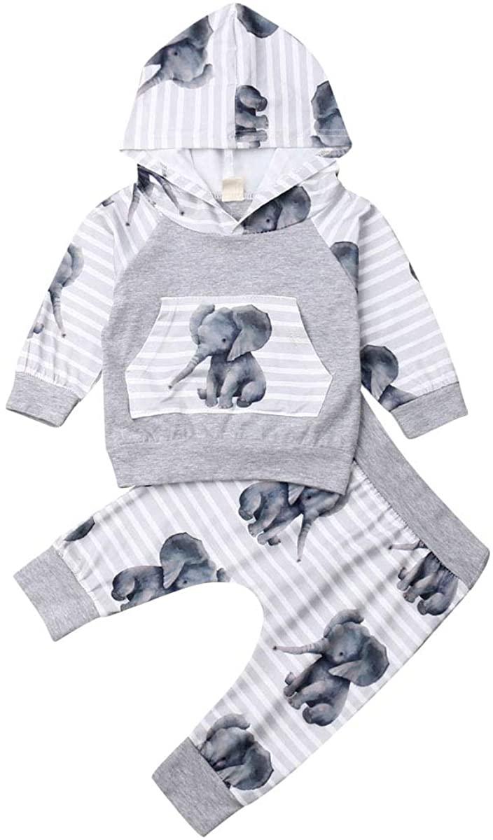 2Pcs Newborn Toddler Boy Girl Autumn Winter Elephant Print Long Sleeve Hoodie Top Sweatshirt+ Long Pants Clothes Set