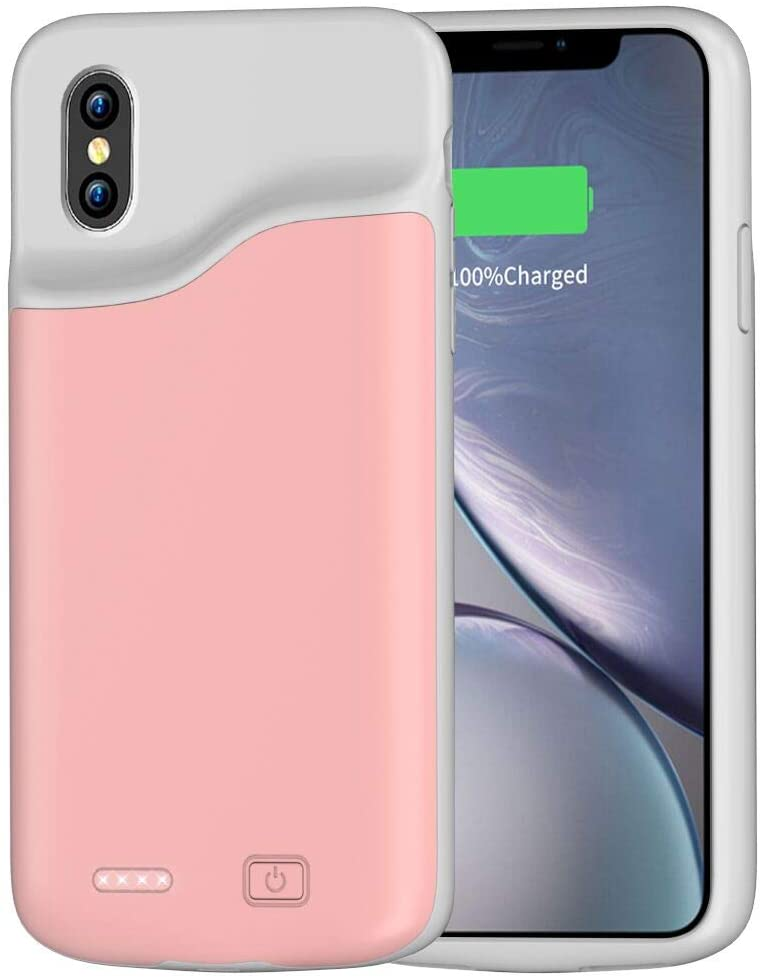 AEDLYK Battery Charger Case for iPhone Xs Max 6000mAh Rechargeable Portable Ultra-Slim Protective Charging Case Compatible with iPhone Xs Max(6.5 inch) External Charger Case(Rose Gold)