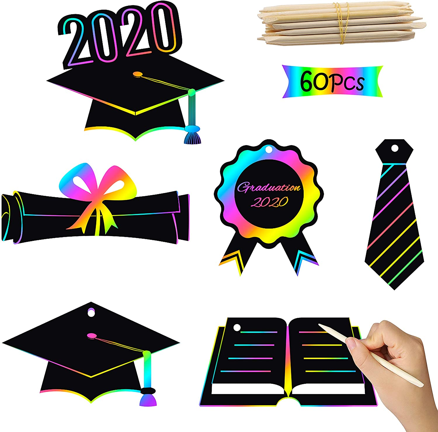 WATINC 60Pcs Graduation Scratch Paper Ornaments, Rainbow Magic Color DIY Art Craft Kit for Kids 2020 Graduation Party Favors, Birthday Gifts for Boys Girls, Grad Gift Tag with Wood Stylus and Ribbon