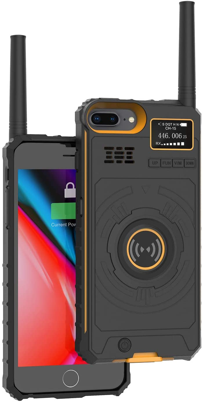 Radioddity iRaddy GM-5 Cell Phone Battery Case for iPhone 6P/6SP/7P/8P Anti-Drop Rechargeable Extended Power Bank Walkie Talkies (Royal Yellow, 5.5