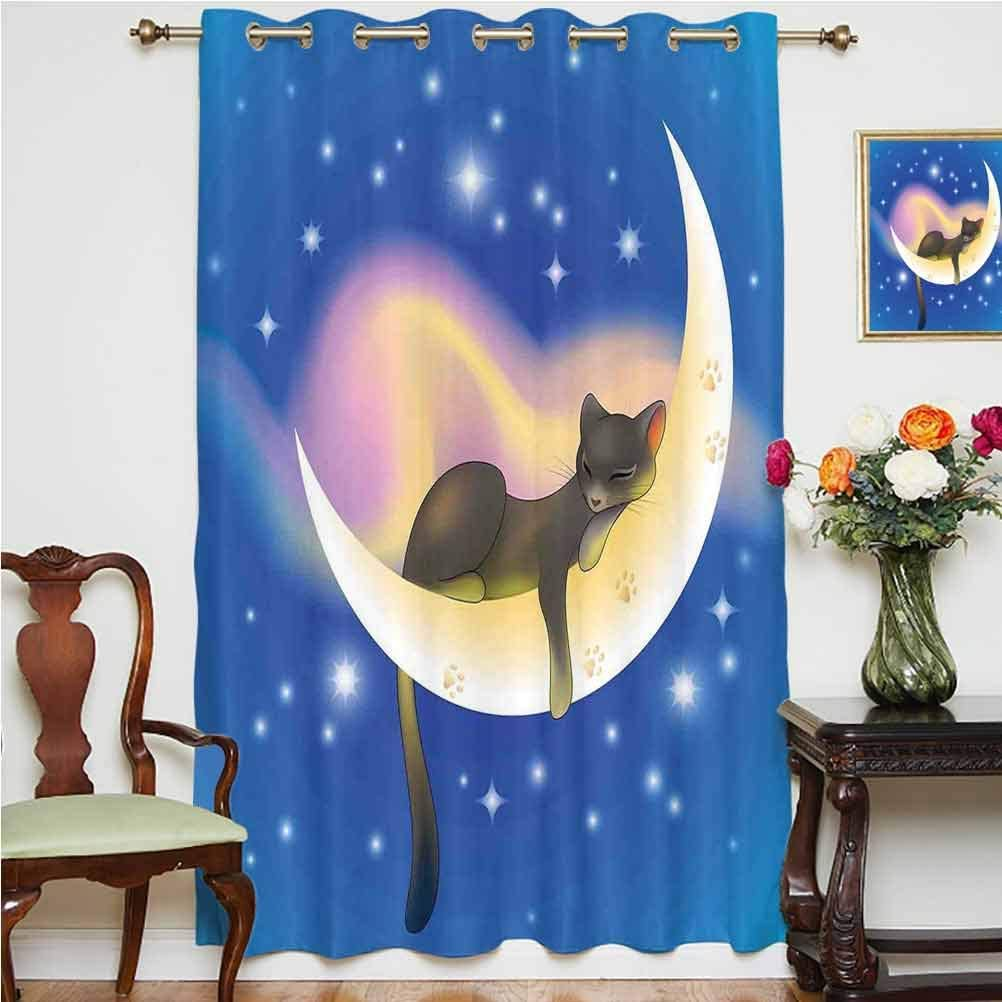 Cat Sliding Door Curtain Cat Sleeping on Crescent Moon Stars Night Sweet Dreams Themed Kids Nursery Design Thermal Backing Sliding Glass Door Drape ,Single Panel 63x72 inch,for Sliding Door Blue Yello