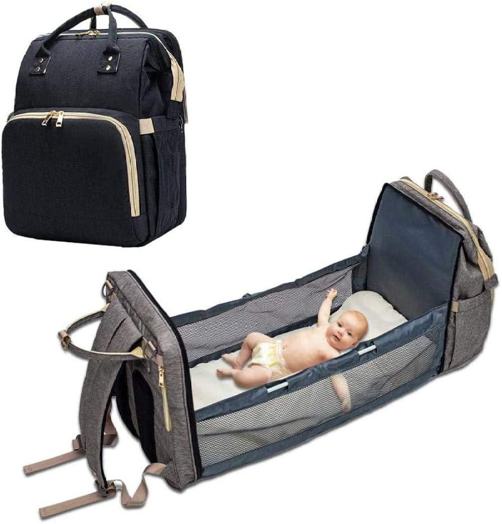 Portable Diaper Bag Baby Lightweight Mummy Bag Diaper Bag Bed Multifunctional Travel Bag Simple Foldable Baby Backpack Crib-Black