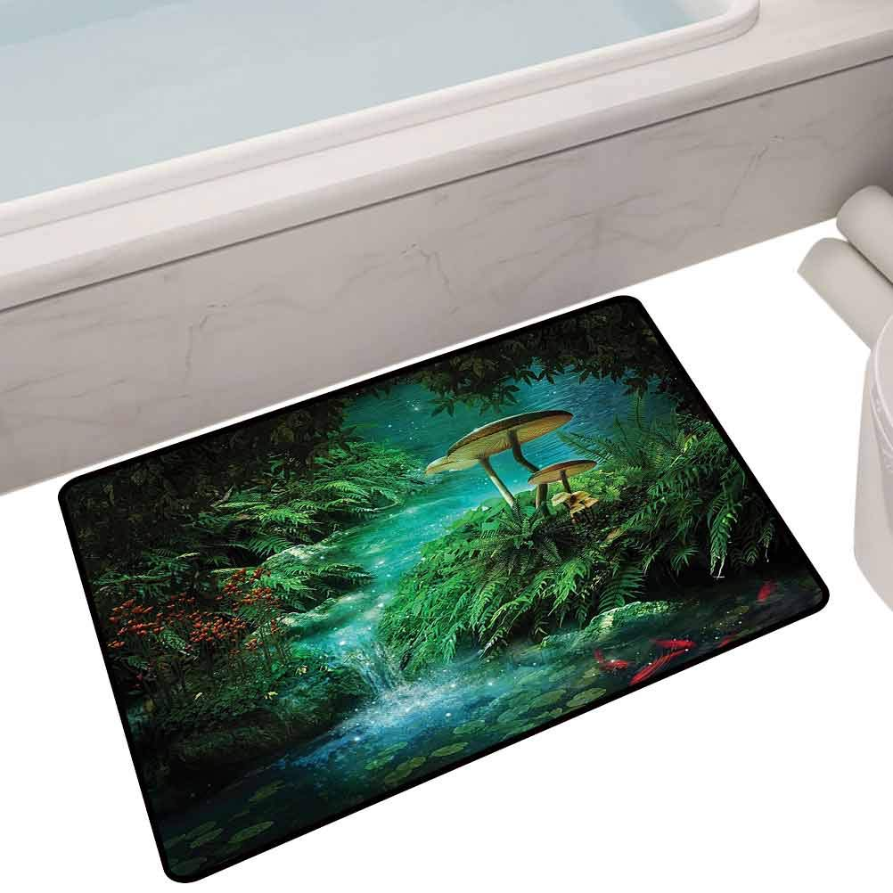Vintage Entrance Mat View of Fantasy River with A Pond,24
