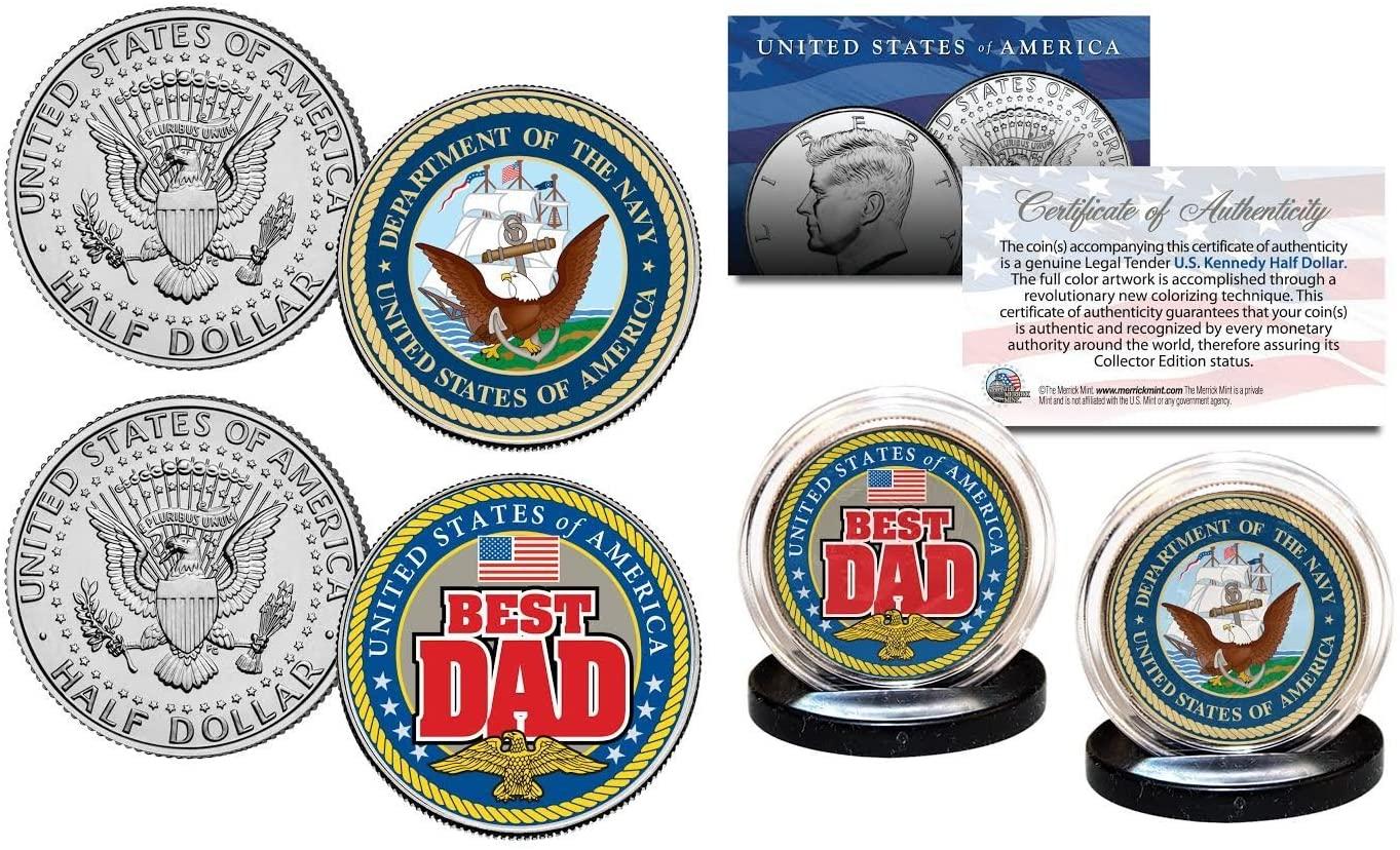 NAVY - FATHERS DAY Best Dad Military 2-Coin U.S. JFK Kennedy Half Dollar Set