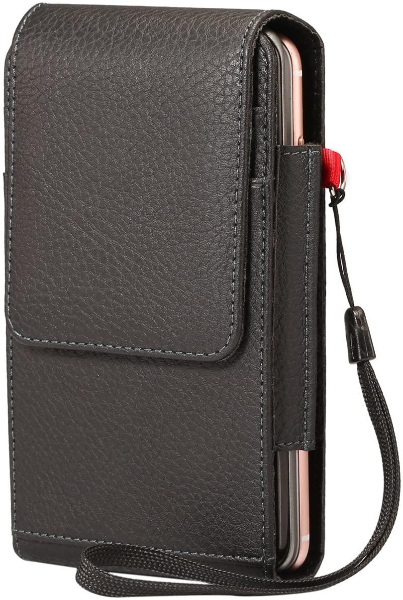 PU Leather Dual Phones Belt Clip Case Holster with Belt Loop Card Slots Double Decker for Galaxy S10 Plus/Note 9 / J8 / J7 Prime / J7 Pro / J7 Neo/Google Pixel 3 XL / 2 XL/ZenFone AR / 5Q / 5Z