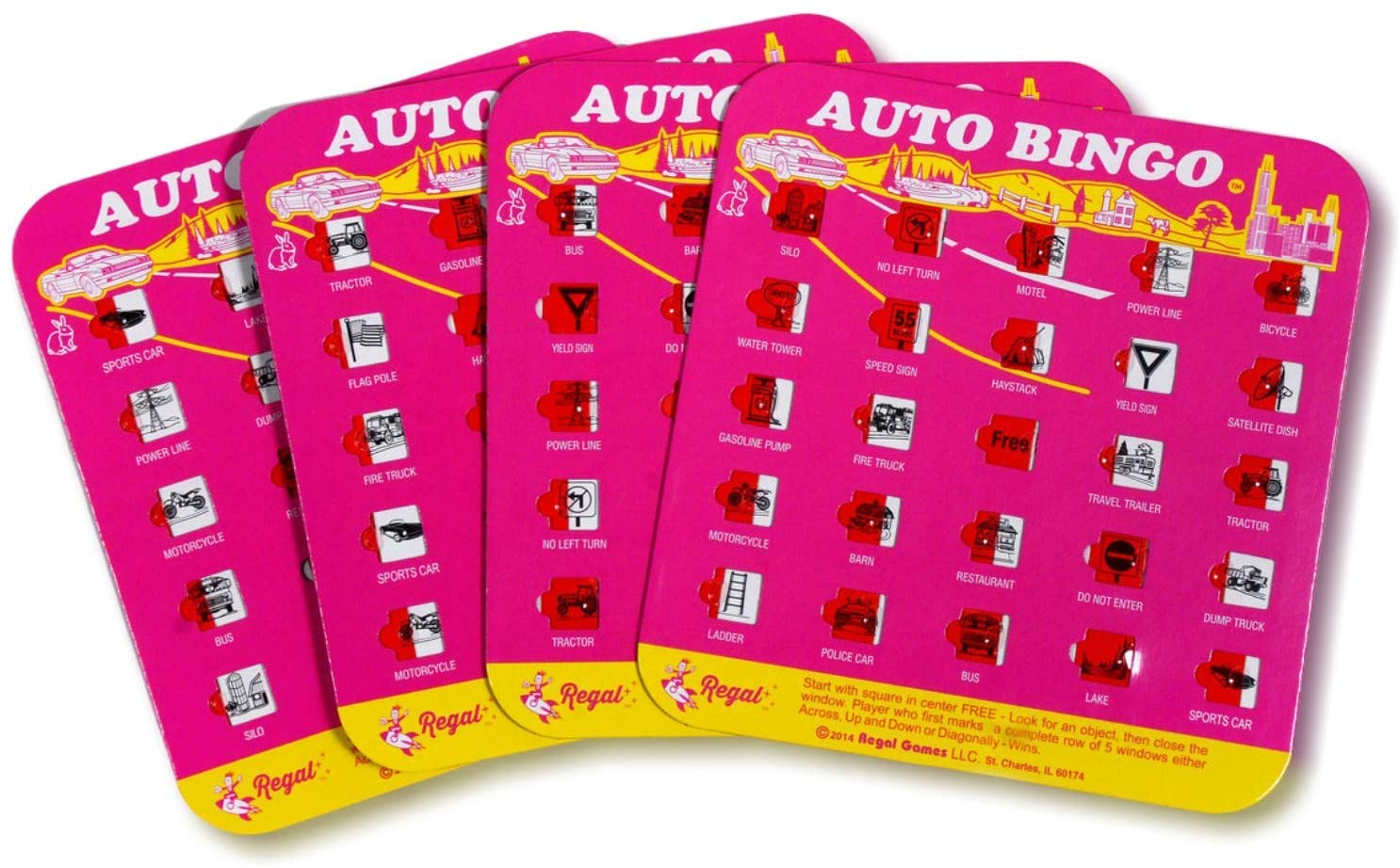 Regal Games Original Auto Bingo Travel Set, Bingo Cards Great for Family Vacations, Car Rides, and Road Trips, Pink, 4 Pack
