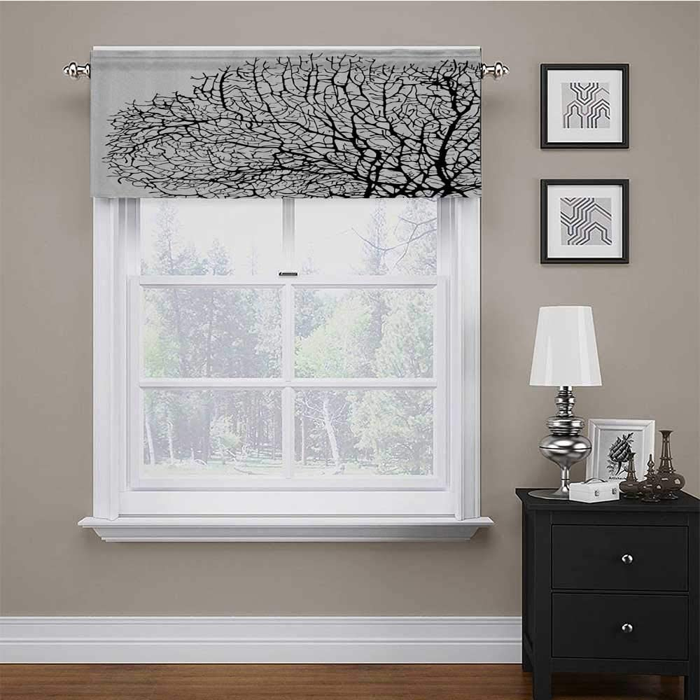 carmaxs Window Treatments Nature for Kids Room/Baby Nursery/Dormitory Silhouette of Twisted Coral Reef Branches in Minimalist Tones Underwater Design 56