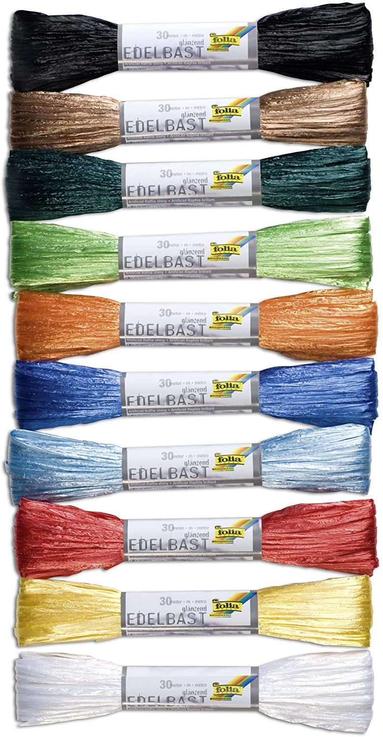 folia 921009 - Synthetic Raffia  30 m in one Piece, 10 Bundles in 10 Colours Assorted
