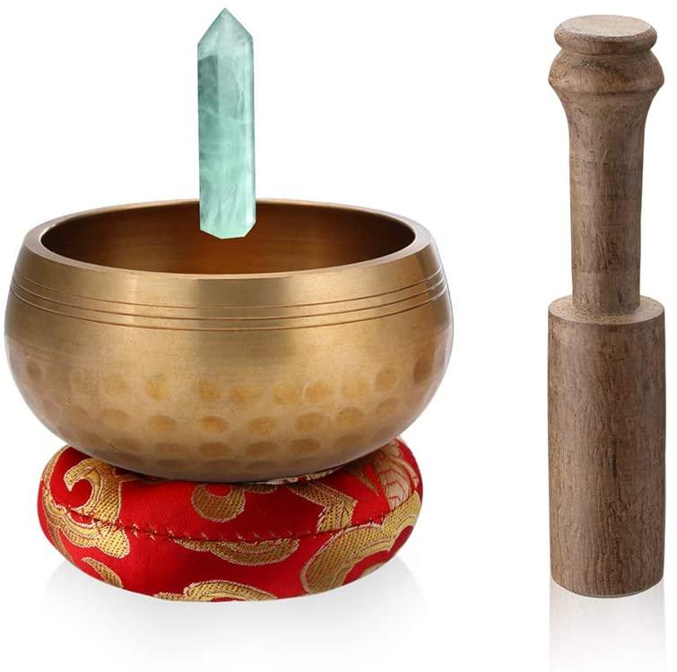 Innovahome Handmade Palm-Size 3.2 inches Tibetan Spiritual Healing Meditation Yoga Singing Brass Bowl Set ~with a Handmade Green Crystal