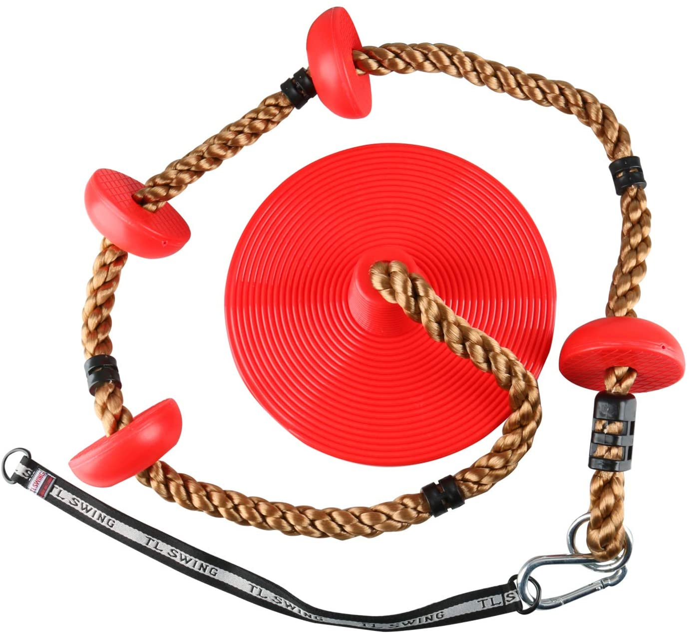 6.5ft Tree Climbing Rope and Kids Swing: Climbing Rope for Kids with Foot Hold Platforms, Disc Tree Swing Seat, and Hanging Kit with Tree Strap Outdoor Swings and Swing Set Accessories Rope Swing, Red