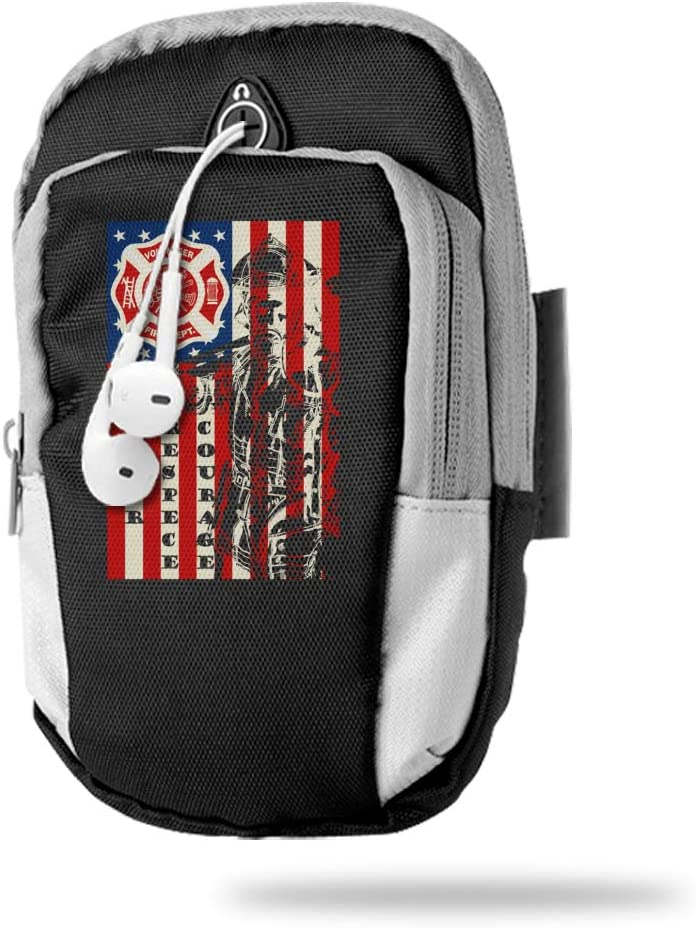 Sports Arm Bag Free Gym Phone Armbands Cell Phone Arm Holder Firefighter American Flag Pouch Case with Earphone Hole for Running for Men Mini Shoulder Bag Travel Women Kids Handbag