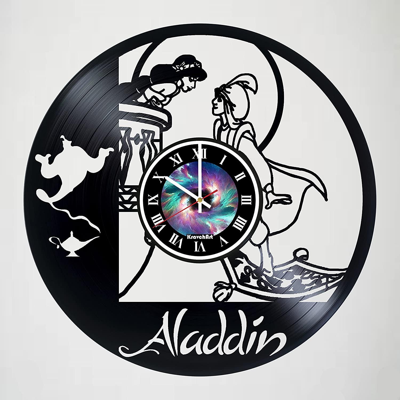 Aladdin & Jasmine - Vinyl Wall Clock Decor Fan Art - Unique home bedroom living kids room nursery wall decor great gifts idea for birthday, wedding, anniversary - Leave a feedback and win a clock!