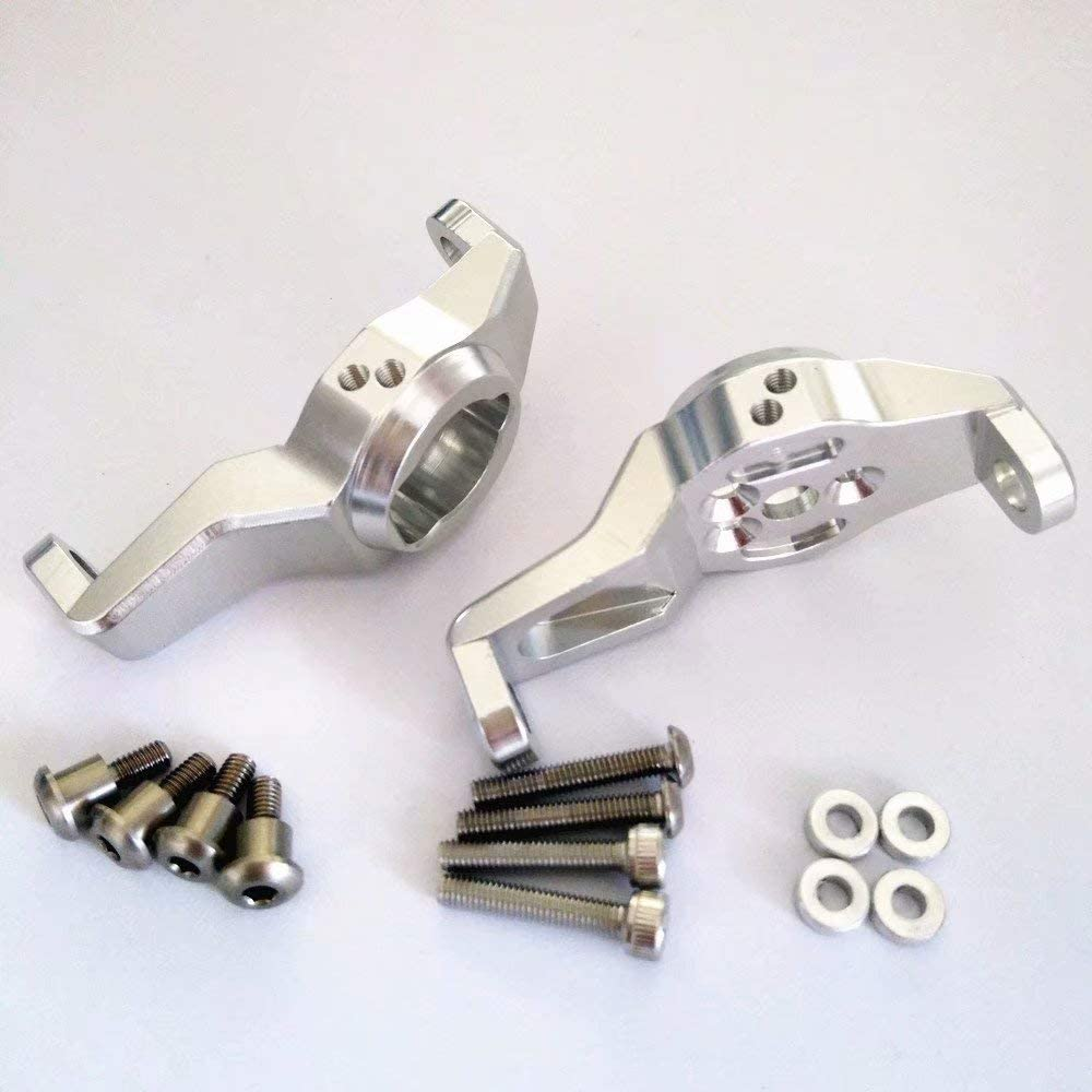 1PR Aluminum Front C Hub Carriers with Toe Out Dmaper Installation Position for Traxxas TRX-4 8232 Silver