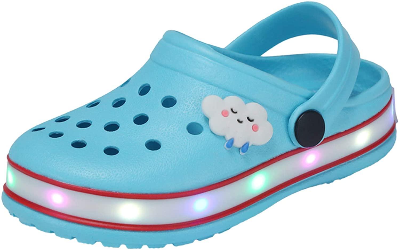 XPKWS Kids' Clogs LED Garden Shoes Boys Girls Mules Light up Sandals Slip on Lightweight Non-Slip