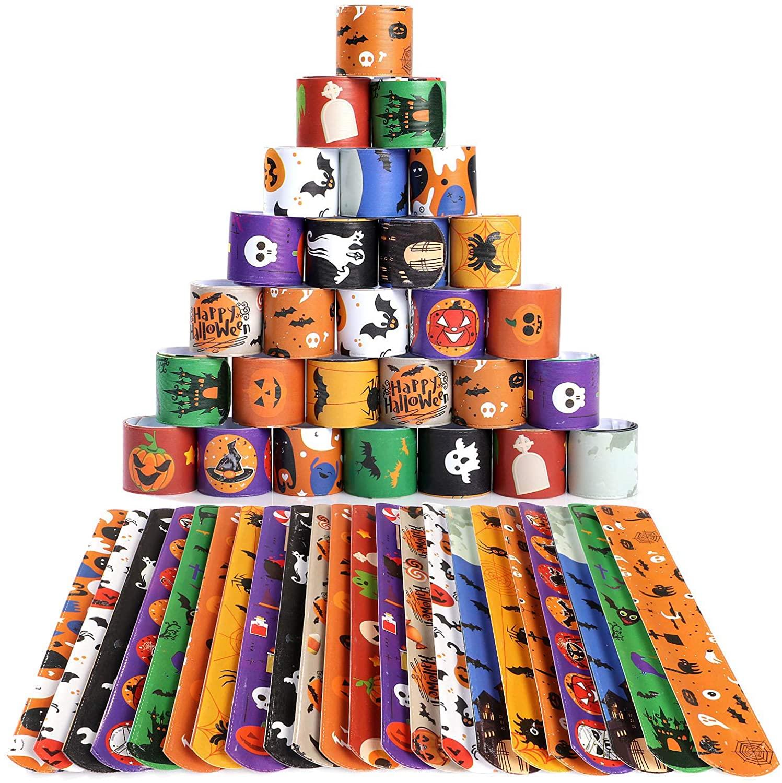 36pcs Halloween Party Favors Bulk for Kids Slap Bracelets for Girls Boys