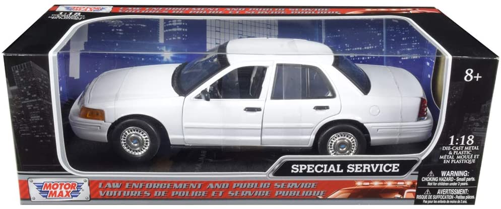 Ford Crown Victoria Undercover Special Service Police Car White 1/18 Diecast Model Car by Motormax 73527