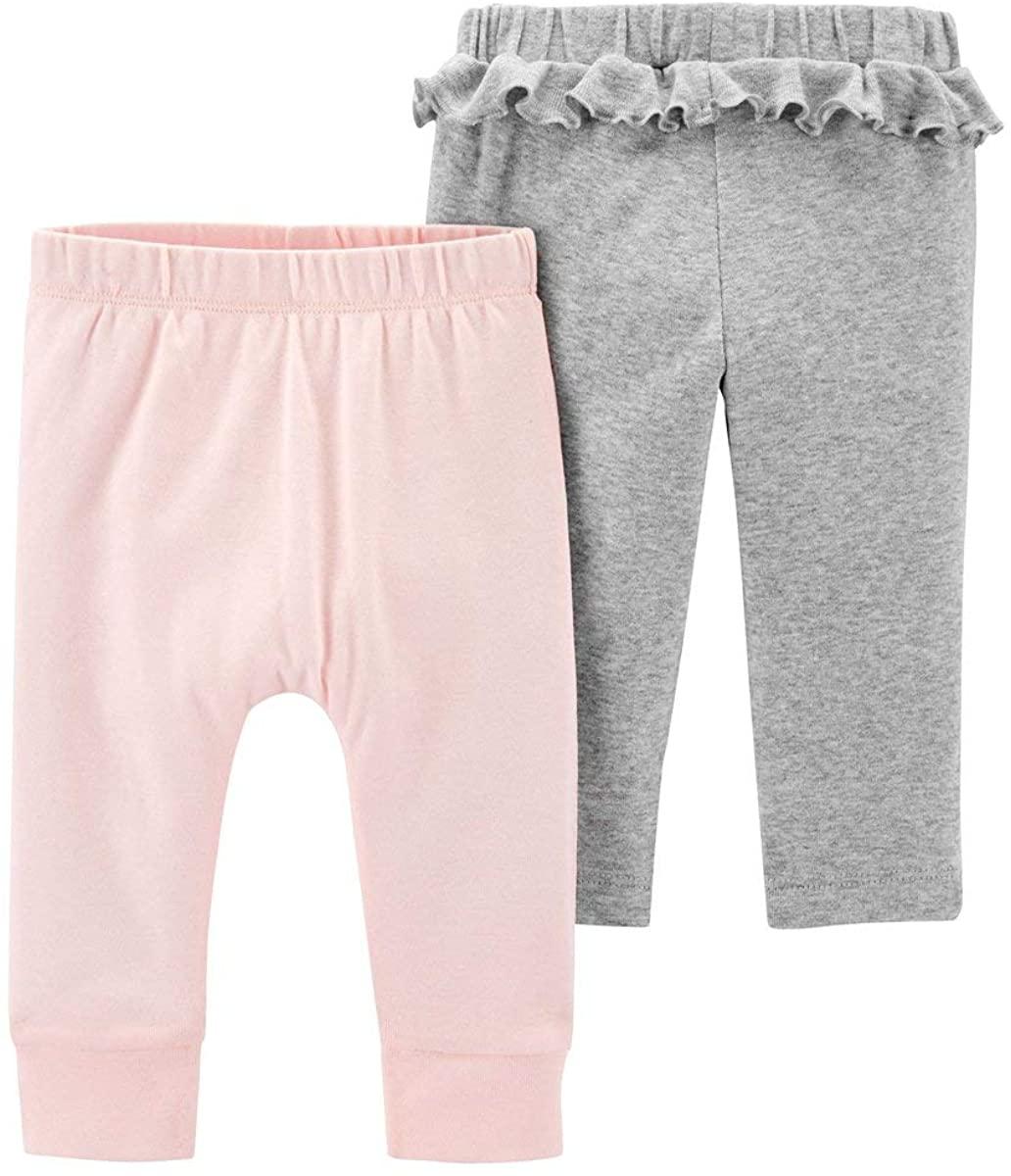 Carter's Baby Girls' 2 Pack Babysoft Pants- Pink/Grey, 3 Months